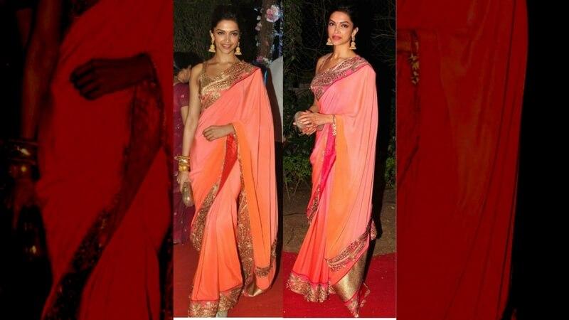 Deepika Padukone in a pink silk saree
