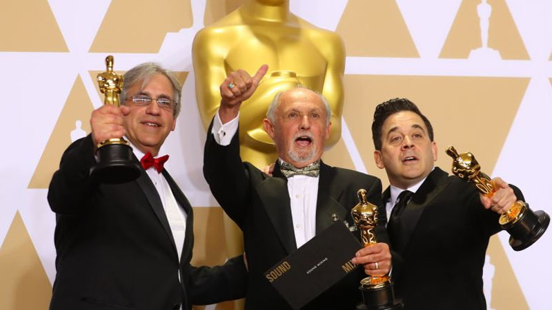 The Oscar for the Best Sound Mixing goes to Gregg Landaker, Gary A. Rizzo and Mark Weingarten for 'Dunkirk'.